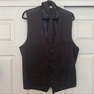 NEW No Retreat Black/Gray Vest & Tie Size XL